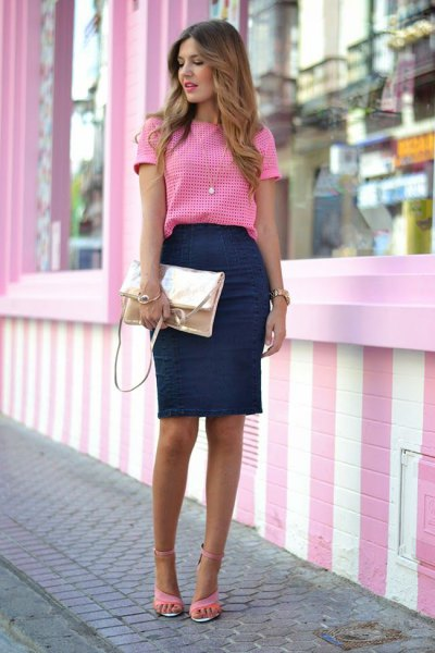 pink and white plaid top with navy blue pencil skirt