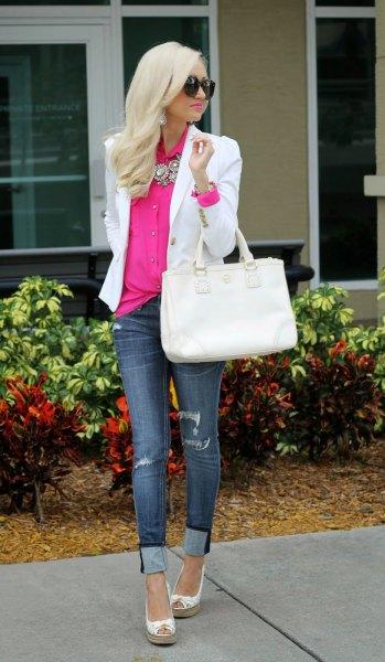 neon pink button shirt with white blazer