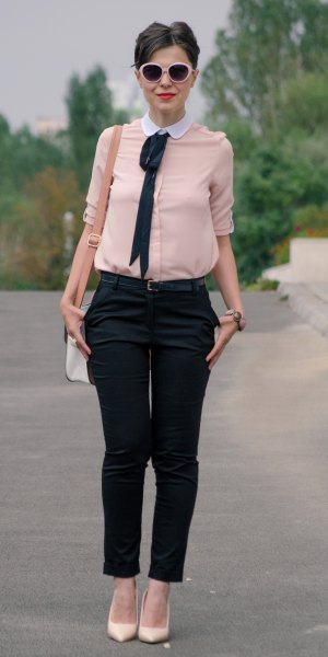 light pink round white collar blouse with black cropped chinos