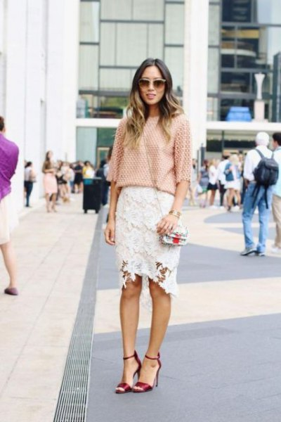 crochet half-heated blouse with white midi lace skirt