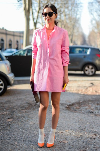 light pink shirt dress with crew socks and blush flats