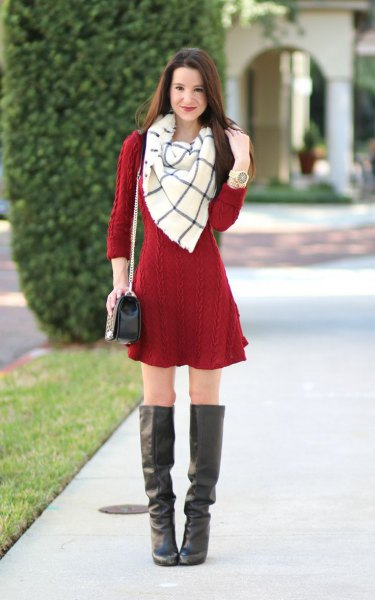 red cable knit mini shirt with white and gray wool scarf