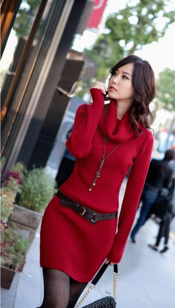 red jacket with belt in ribbed sweater