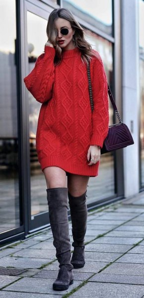 red knitted sweater with gray thigh high boots