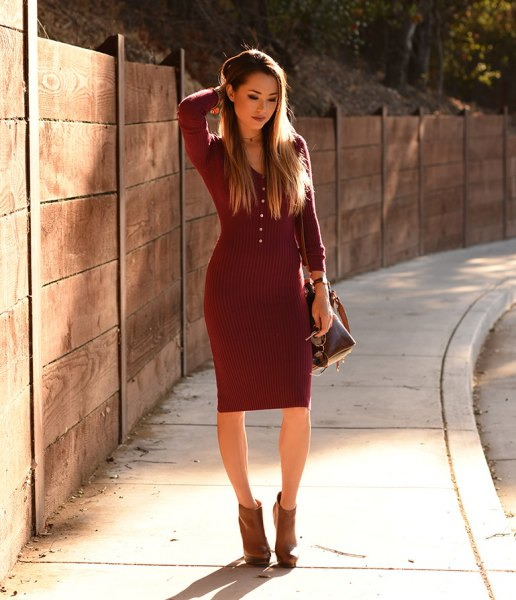 dark red fit sweater dress with gray ankle boots