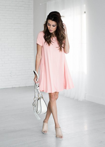 light pink short sleeve mini swing shirt with open toe dresses