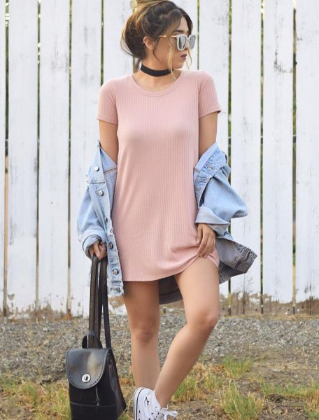 light pink ribbed miniature dress with light blue denim jacket
