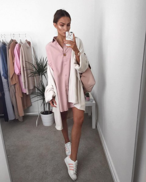 mini pink button dress with white oversized cardigan