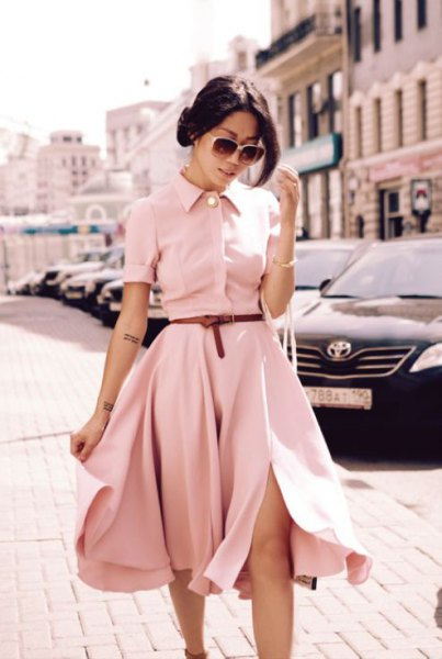 light pink belt fit and flare midi shirt