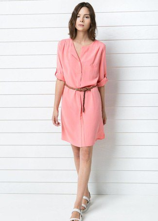blush belt knee length shirt dress with white slip sandals