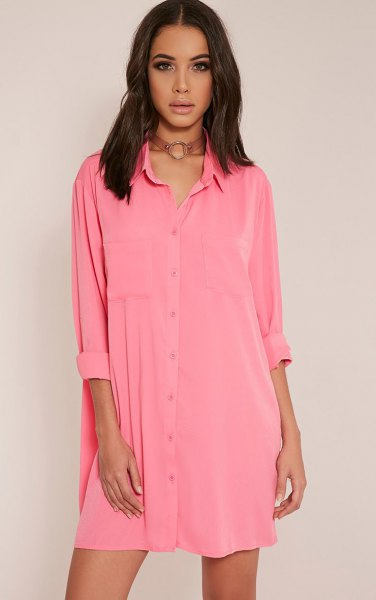 pink mini button shirt dress with brown boho style choker