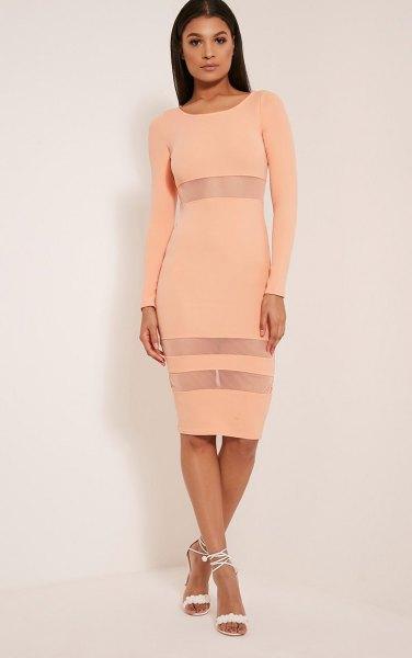 peach bodycon semi clean striped midi long dress