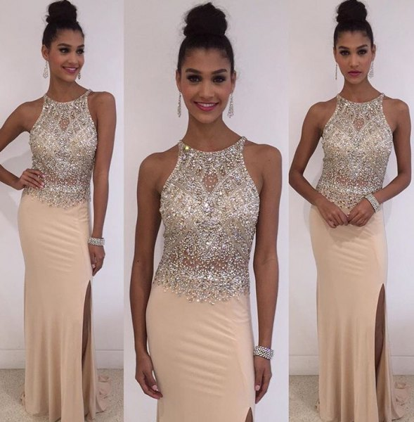 silver and peach neckline fits and flushes two toned long dress