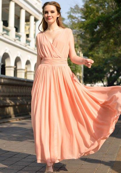 peach deep v-neck gathered waist long flowing dress