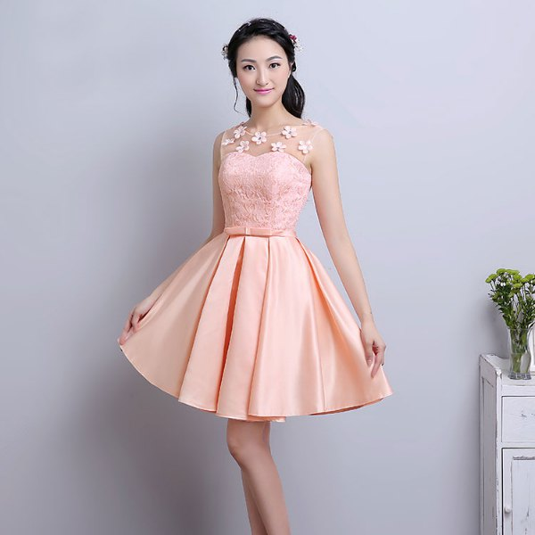 peach two toned fit and flare lace and knee length dress in silk