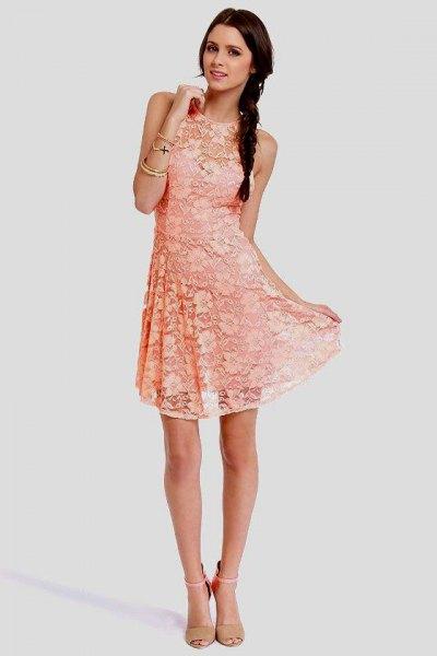 peach sleeveless casual fit fresh dress