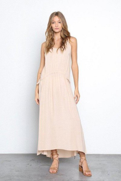 peach maxi tank top dress with gladiator sandals