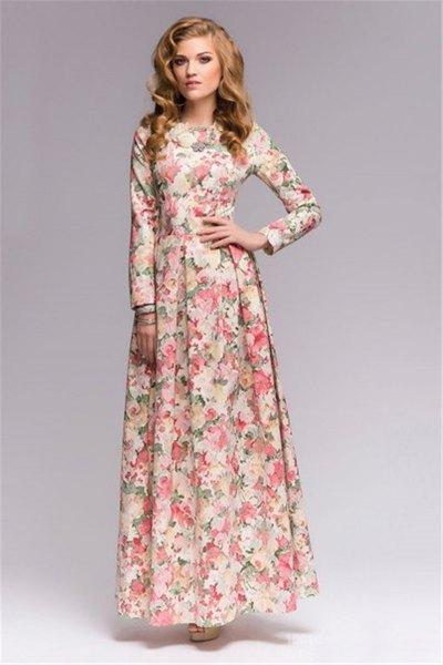 floral printed floor length sheath dress
