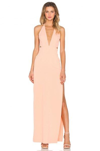 peach deep v-neck halter neckline high split long dress