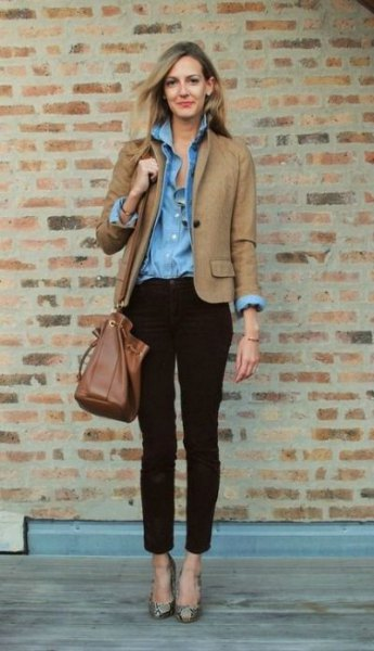 camel blazer with blue chambray button up shirt and black chinos