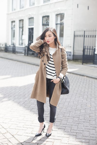 cotton wool with white and black striped sweater