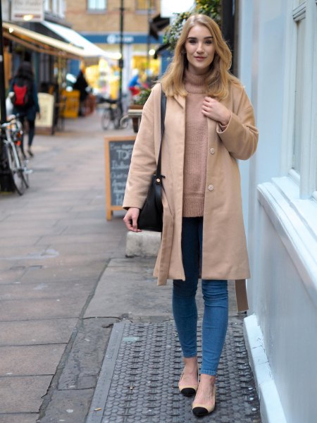 light camel longline jacket with sweater neck and skinny jeans