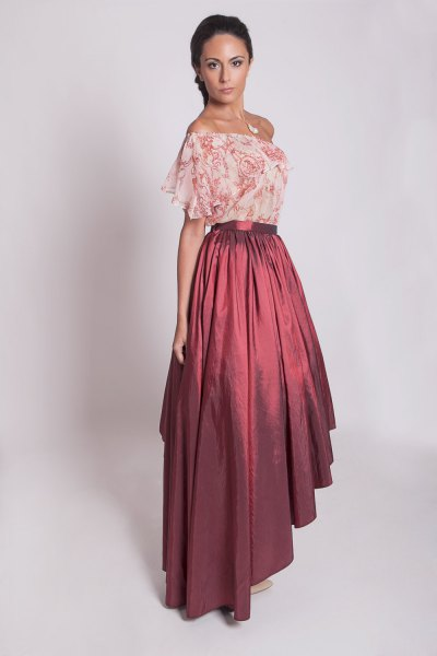 blush pink floral printed chiffon from shoulder top with maxi taffeta skirt