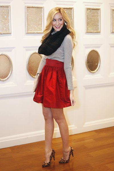 gray sweater with black infinity scarf and red mini skirt
