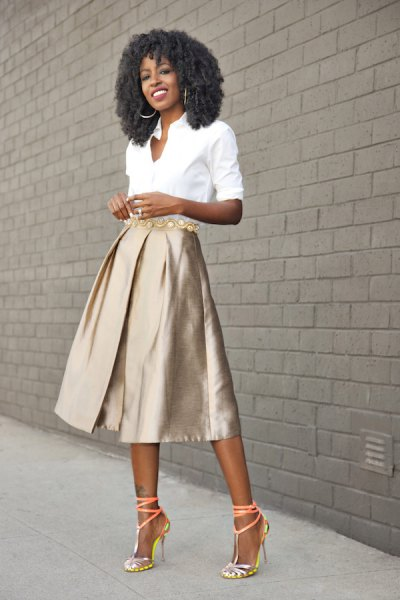 white button up shirt with pink gold midi blasted skirt