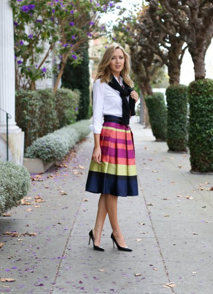 white button up shirt with midi skirt in color pad