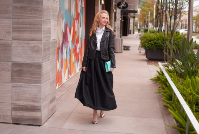 white collar shirt with leather jacket and black maxi taffeta skirt