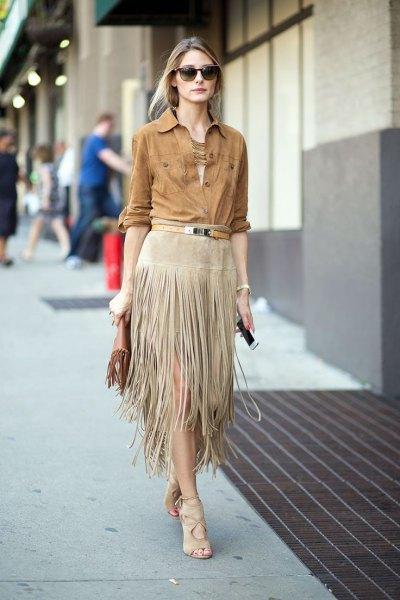 camel companion shirt with gray midi fringe skirt