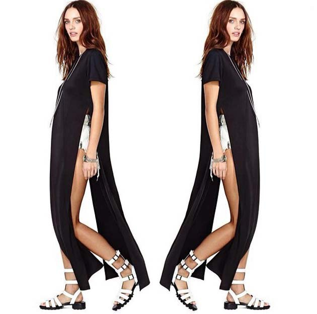 black side slit shirt in maxi length with white mini shorts