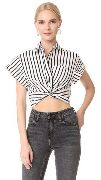 black and white cap sleeve cropped front with gray jeans