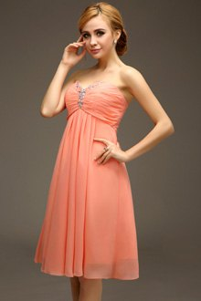 strapless carol pink empire waist midi chiffon blown cocktail dress