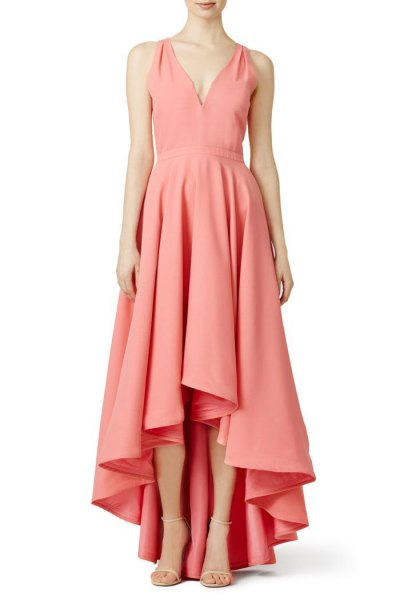 pink pink v-neck cocktail dress with low maxi