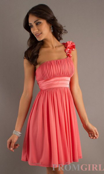 pink pleated belt mini cocktail dress