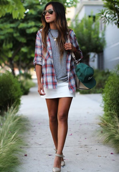 gray and white checkered boyfriend shirt with mini skirt