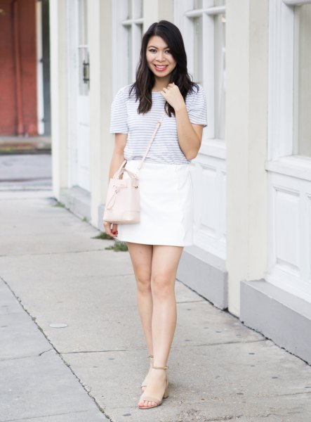 light gray striped t-shirt with white mini skirt
