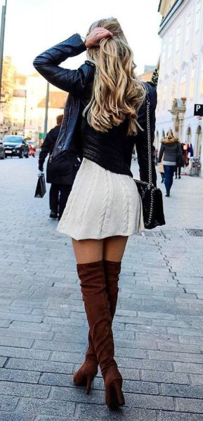 black leather jacket with white cable knit mini skater dress