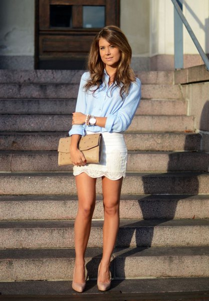 light blue button up shirt with white lace, combed, mini skirt
