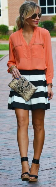 blush pink pink up shirt with black and white striped mini pleated skirt