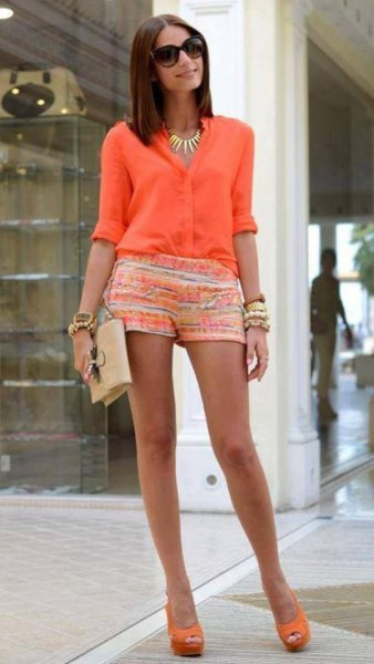 carol pink half-heated button up shirt with yellow and white printed mini shorts