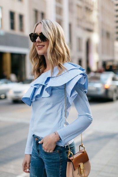 light blue long sleeve blouse