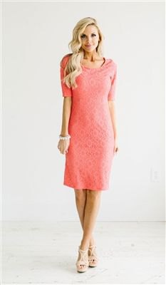 carol half sleeve lace midi dress with light pink open toe heels