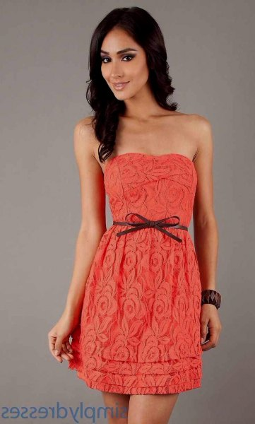 carol strapless belt mini lace dress