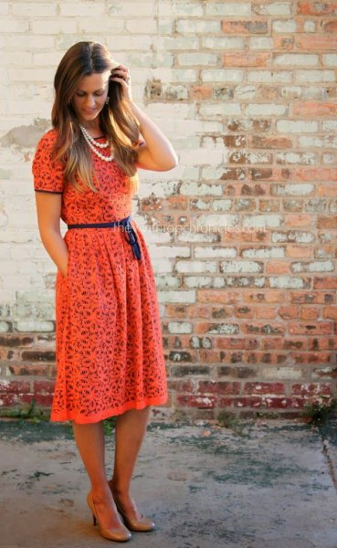blush short sleeve belt waist lace dress at the waist