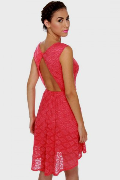 carol backless mini semi clean fit and flare dress