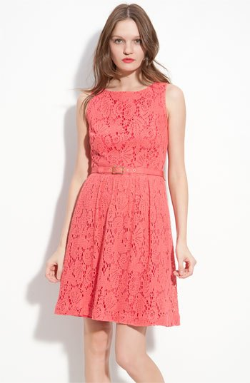 carol belt mantle mini lace dress with pink heels