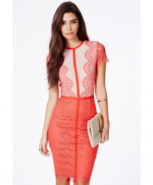 light yellow and pink two-color lace mini lace dress